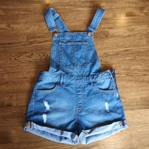 F21 Distressed Hi-Rise Denim Overall Shorts 25